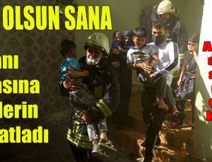 Alevlerin arasına atlayan genç 5 çocuğu kurtardı