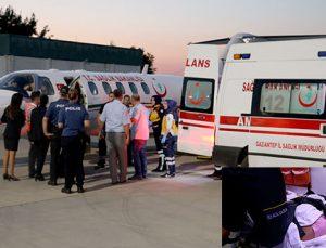 Ambulans uçakla Gaziantep'e getirildi