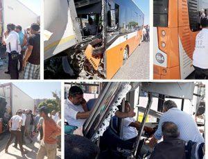 Belediye otobüsü TIR'a çarptı