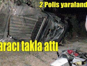 Polis aracı takla attı: 2 yaralı