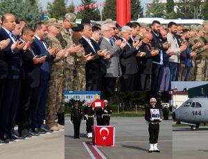 Şehit yüzbaşının naaşı askeri törenle Ankara'ya uğurlandı
