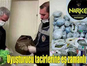 Uyuşturucu tacirlerine eş zamanlı operasyon